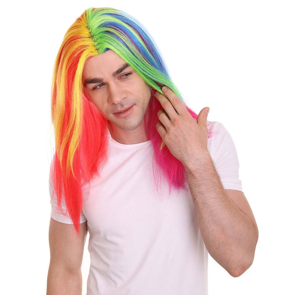 HPO Costumes Makeup Party Rainbow Colors Straight Daniel Hernandez Cosplay Wig Pelucas Anime Masquerade Halloween Party Wig