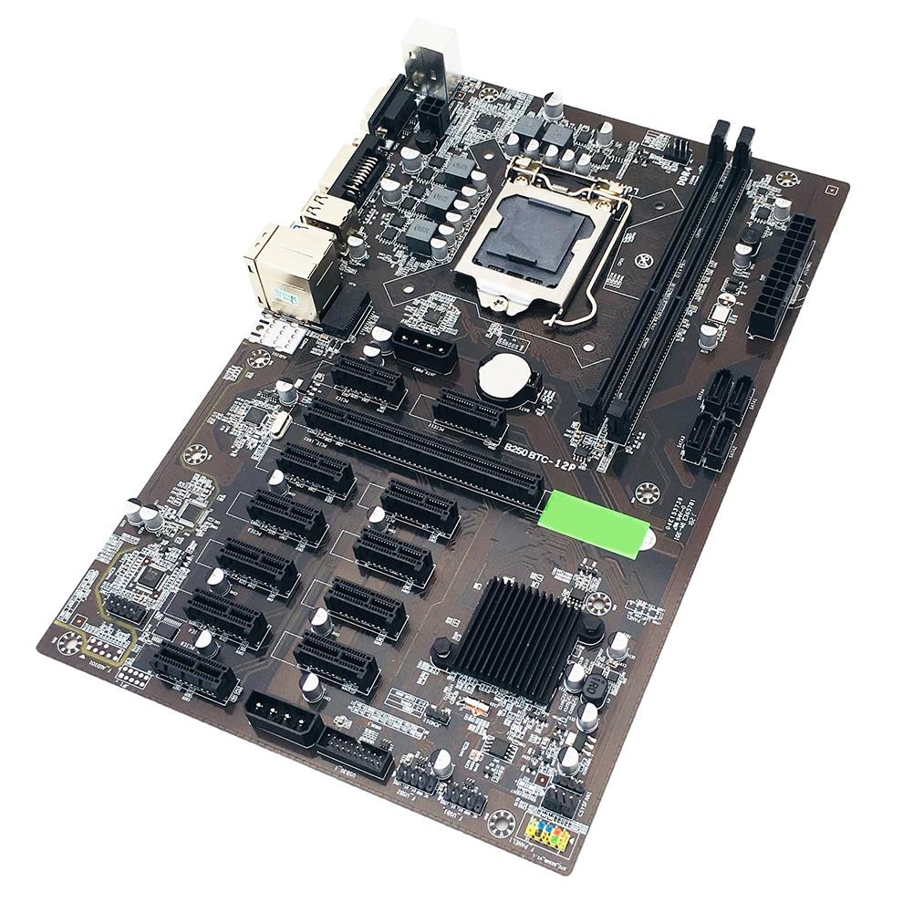 B250 BTC Mining Motherboard 12X PCIE Graphics Card DDR4 DIMM SATA Supports VGA Miner Motherboard Video Card Slot