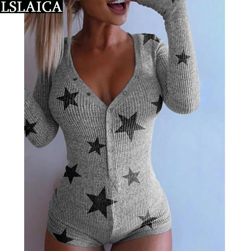Gran oferta casual gris bodysuit mujeres de manga larga tops y pantalones cortos de moda dibujo de pentagrama sexy mujer jumpsuit traje de fiesta