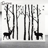 huge trees elk forest wall stickers 7 birch trees set removable vinyl wall decals for living room bedroom wallpaper home decor