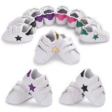 Baby Boys Girls Shoes Crib Bebe Footwear Sneakers Newborn Infant Toddler Star Print Hook Loop Classic Sports First Walker Shoe
