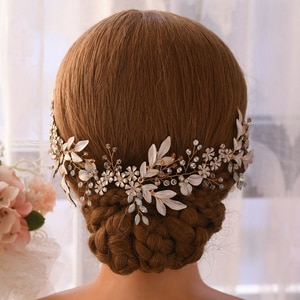 TRiXY H278 Flower Wedding Headpiece for Women Vintage Bridal Hair Clips Alloy Leaf Hair Vines for Bridal Rhinestone Hair Jewelry