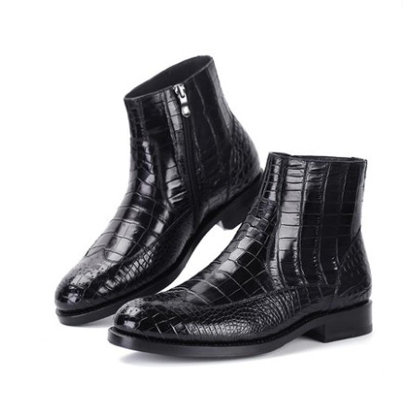 weitasi  winter crocodile leather boots crocodile shoes  Pure manual  custom  men business  keep warm  Fashion style  Men boots