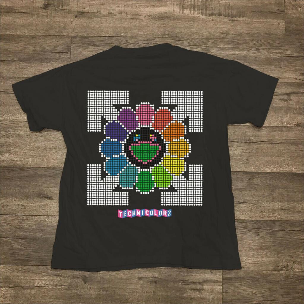Off мужские футболки летние белые X Takasuhi Murakami Technicolor Black Tee. Lil открытым Xxxtentacion