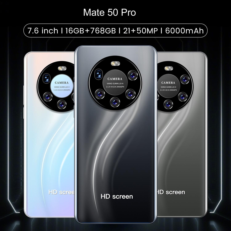 Mate 50 Pro Smart Phone Global Version 16Gb Ram 768Gb Rom Dual SIM Unlocked Smartphone Android 11.0 Deca Core 4G/5G Mobile Phone