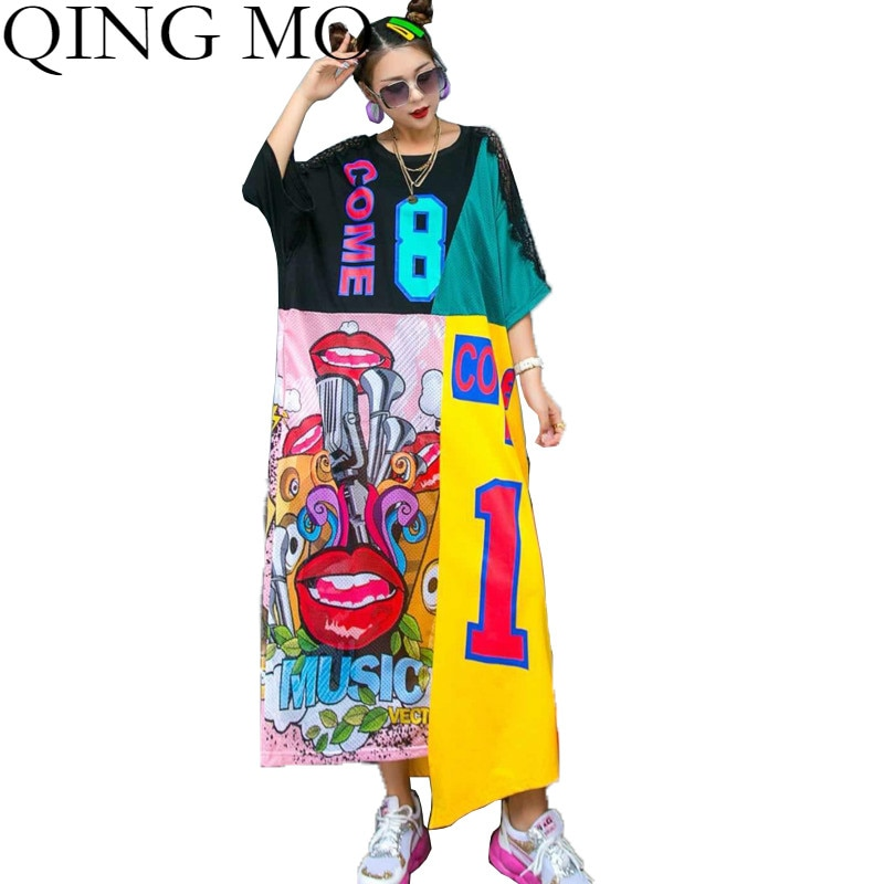 QING MO Plus Size Graffiti Imprimir As Mulheres Se Vestem 2020 Verão Irregular Vestido Longo de Renda Patchwork Mulheres Vestido Branco Preto QYF027A