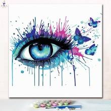 Cuadro de marco de decoración Hoom hecho a mano cuadros de pintura modernos a ojo colorido colorear por número con colores de pintura arte de colores