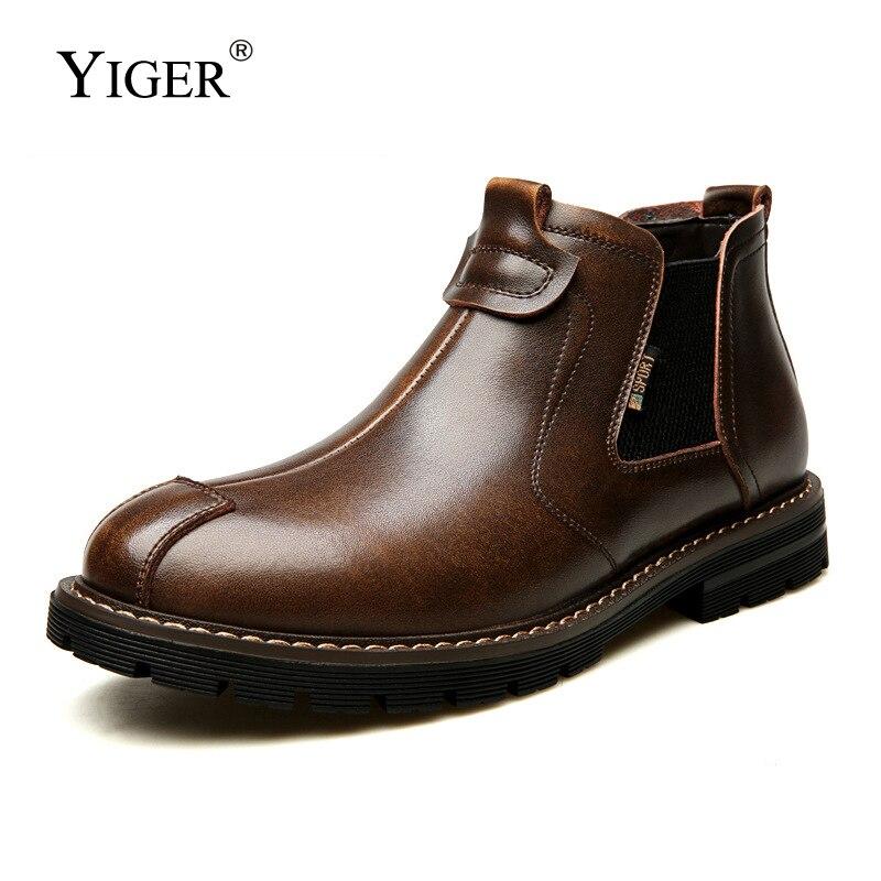 YIGER/мужские ботинки челси; Мужские Ботильоны; Повседневные мужские Ботинки Martin; Британский тренд; Рабочие мужские ботинки; Мужские теплые зи...