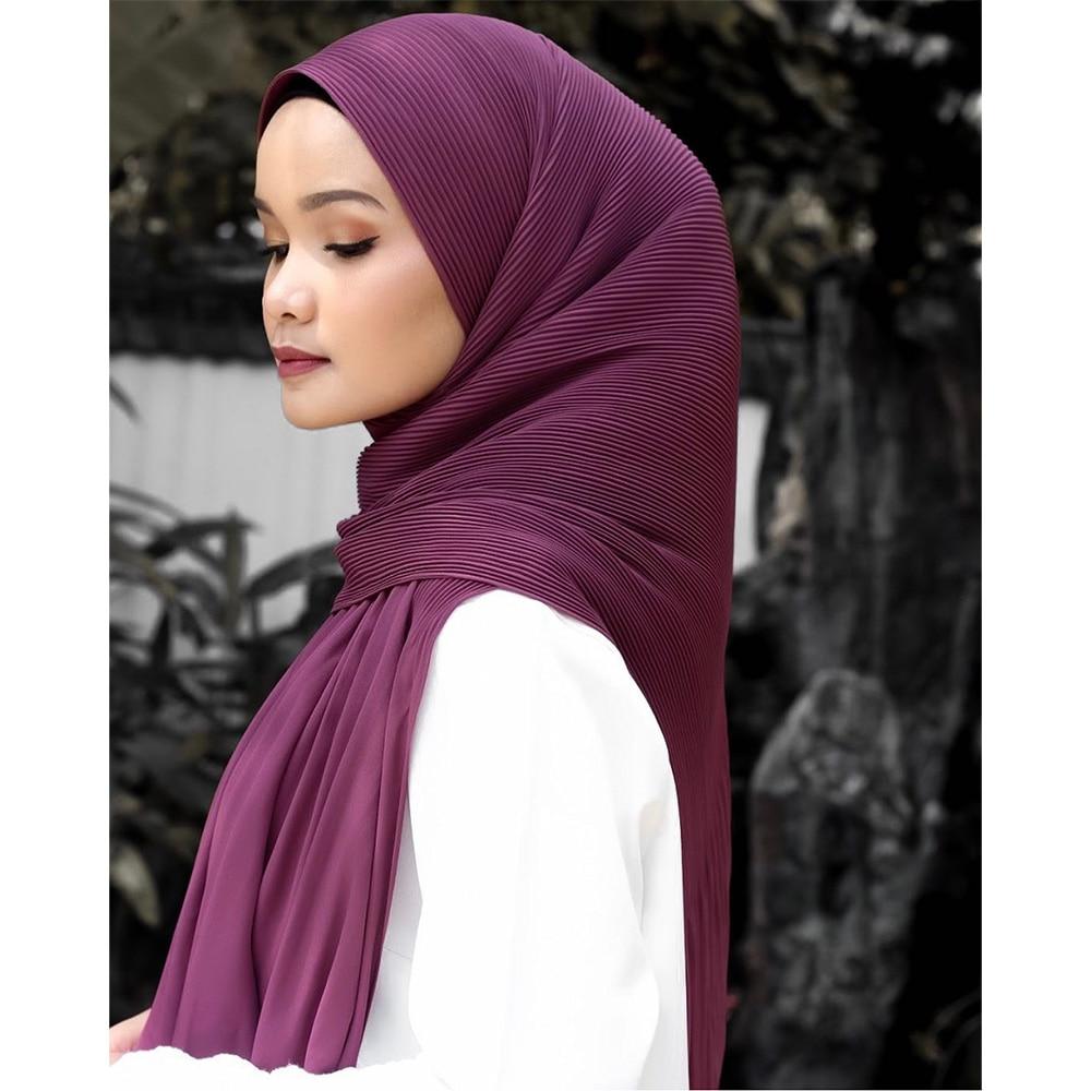 pleated hijab muslim fashion accessories hijab for women crinkle scarf chiffon headscarf for ladies solid color head wrap Pleated Hijab Muslim Fashion Accessories Hijab For Women Crinkle Scarf Chiffon HeadScarf For Ladies Solid Color Head Wrap