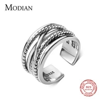 modian vintage 925 sterling silver geometric double layer line ring for men and women lovers ring national style fine jewelry