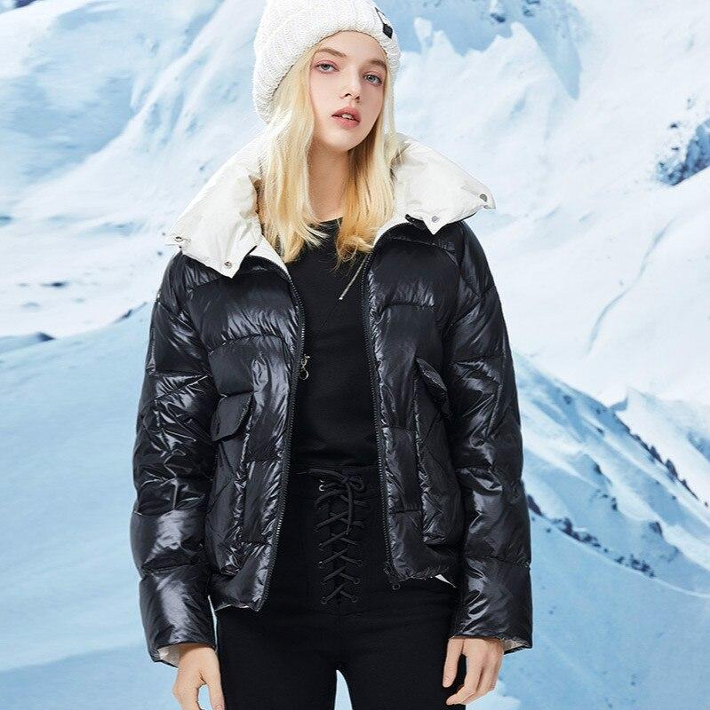 Новый Зимний женский пуховик, модная Двухсторонняя куртка на белом утином пуху, женская уличная Повседневная хлопковая куртка средней длин...