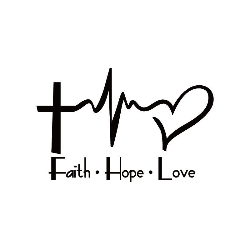 Divertida Calcomanía para auto fe, esperanza, amor, dibujos animados, Jesús, religioso, biblia, versos, ventana, decoración corporal, pegatina de vinilo