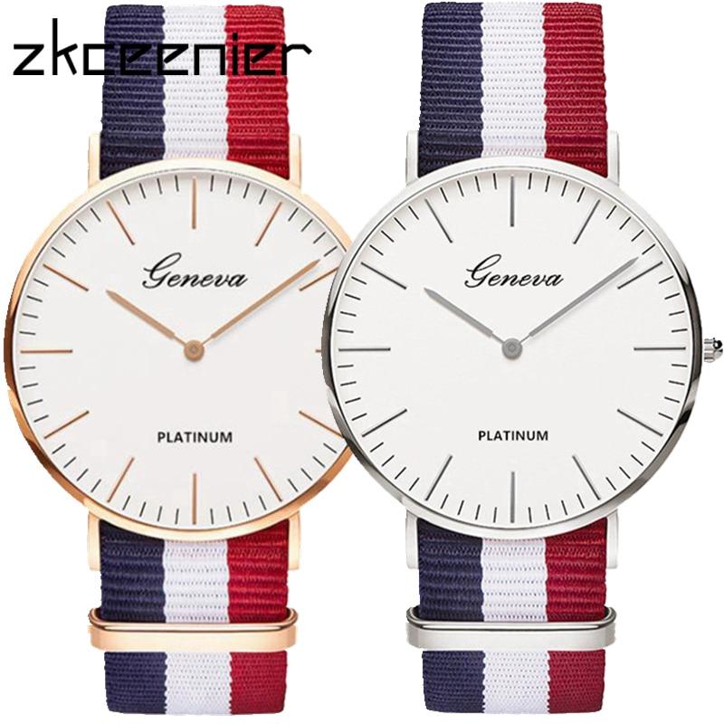 Heißer Luxus Marke Nylon Mode Frauen Armband Quarzuhr Männer Damen Armbanduhr Armbanduhren Uhr Uhren Mujer Relogio