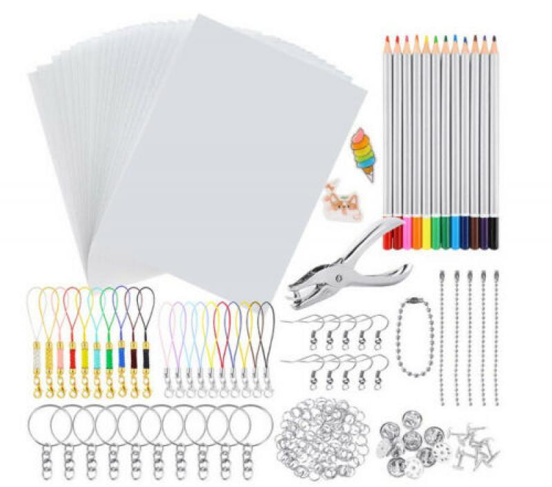 198 pçs encolher dinks kit plástico shrinky papel de arte buraco perfurador chaveiros lápis desenho arte fornecimento criativo chaveiros lápis craf