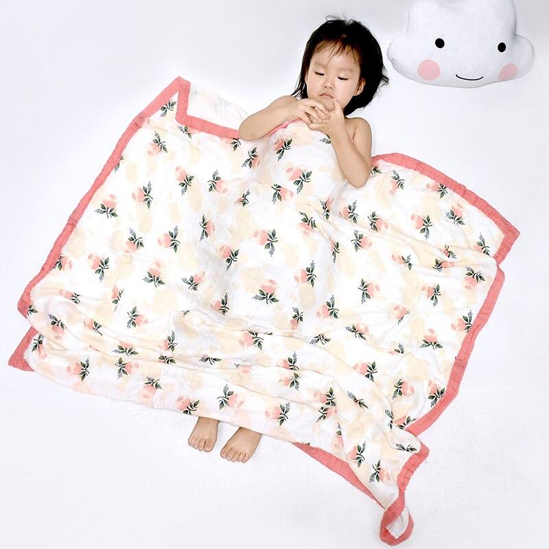Manta de muselina para bebé de algodón y bambú de cuatro capas, manta de muselina para bebé, manta de verano para bebé, toalla para bebé, Toalla de baño 120*120 CM
