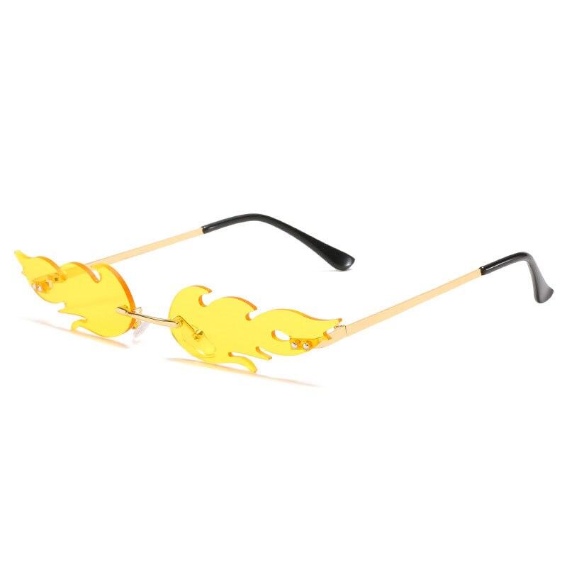 Fire Flame Sunglasses Women Men Luxury Rimless Shades Fashion Sun Glasses Vintage Retro Oculos Trend