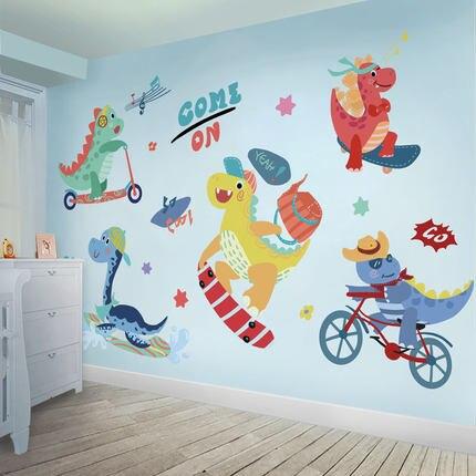 Pared de fondo para habitación de niños, dibujos animados creativos, animación, pegatinas de dinosaurio, decoración de pared de clase infantil