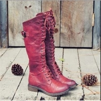 large size autumn winter 2021 new fashion round head low heel high tube cross strap chivalry boots