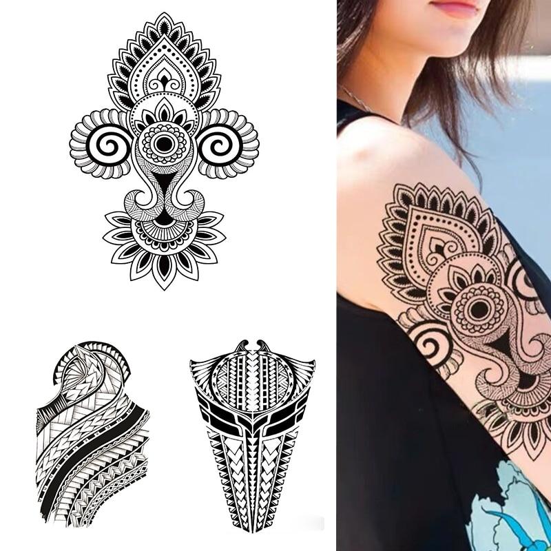 Etiqueta de tatuaje temporal impermeable totem datura flor pétalo patrón geométrico gran flash tatoo falso tatto para chicas hombres mujeres
