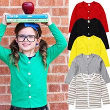 Moda para niños pequeños, niño, niña, 1T-6T, suéter tejido, cárdigan, abrigo, Top de manga larga