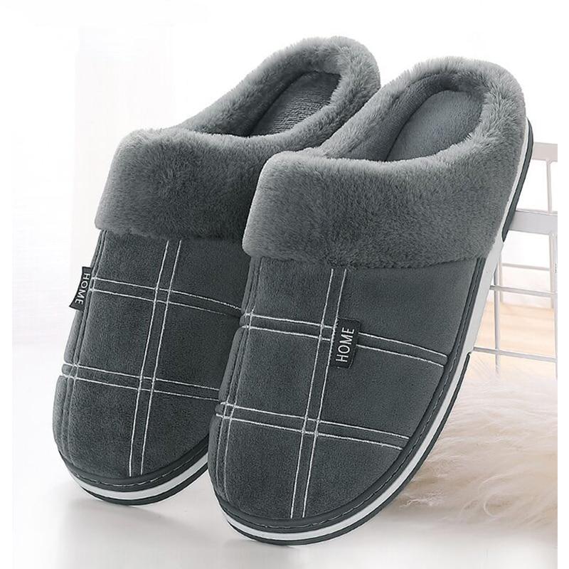 Men shoes winter Slippers Suede Gingham Plush Velvet Indoor shoes for Men Home Slippers 2020 Non slip Waterproof Male slipper