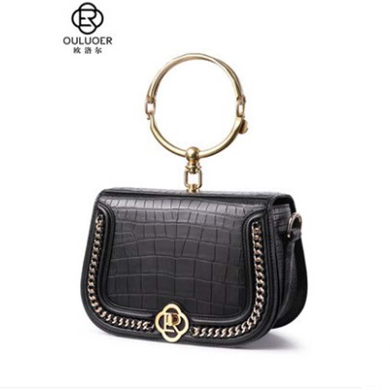 Ouluoer-حقيبة جلدية من جلد التمساح للنساء ، حقيبة بسلسلة ، حقيبة كتف واحدة بحلقة متقاطعة