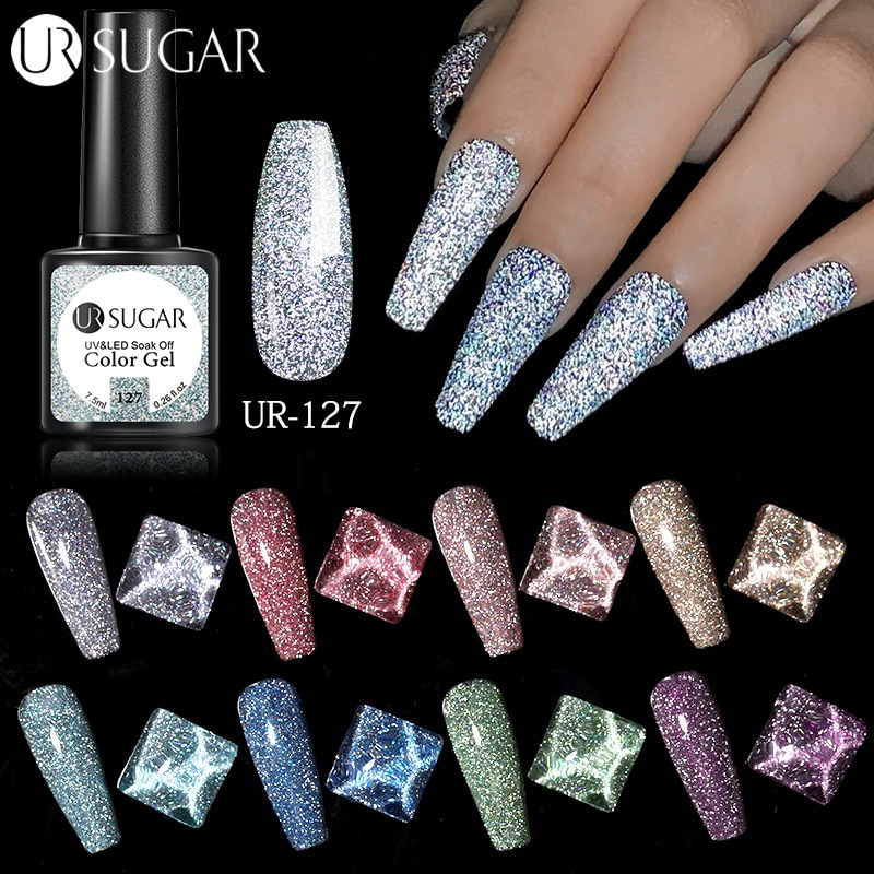 UR SUGAR Reflective Glitter Gel Nail Polish 7.5ml Sparkling Auroras Laser Nail Gel Nail Art Vernish