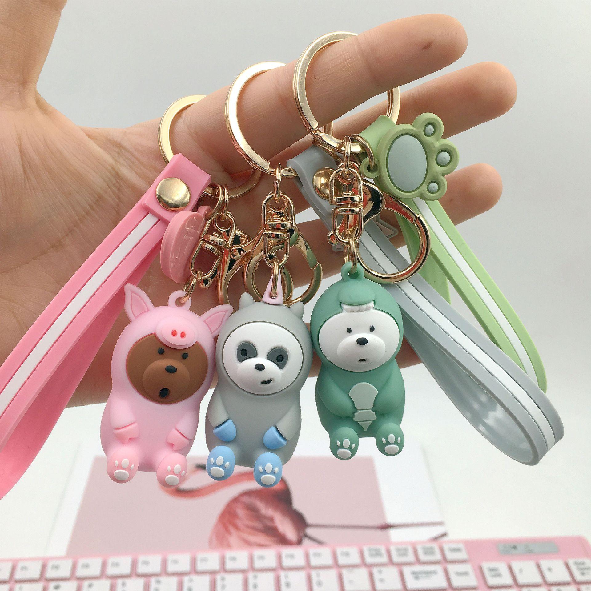 Nasze gołe niedźwiedź śliczne lalki brelok trzy śliczne niedźwiedź brelok brelok samochód kobiety torba wisiorek – biżuteria prezent dla dzieci