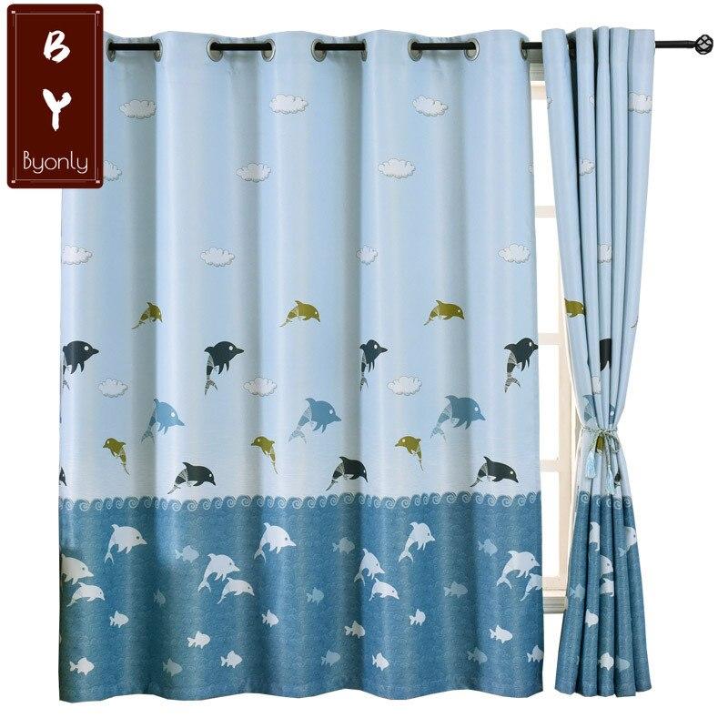 ستائر التعتيم بسيطة تخصيص الستائر لغرفة النوم بسيطة الحديثة النسيج الظل ستارة قصيرة خليج نافذة الصبي الكرتون نمط