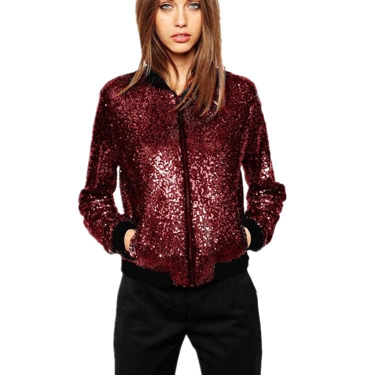 Chaqueta de lentejuelas de mujer chaqueta de bombardero de manga larga con cremallera ropa de calle informal suelta con purpurina ropa de abrigo de primavera 2020 nueva moda femenina