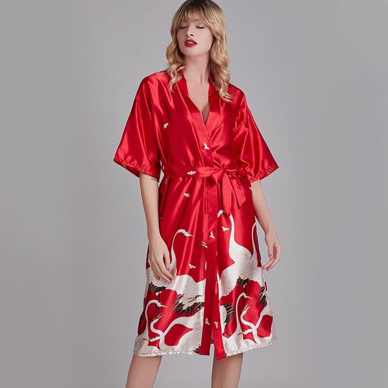 Атлас кимоно халат халат женщины халат искусственный шелк свадьба невеста элегантный ночь халаты одежда для сна для леди лето плюс размер M-XXXL