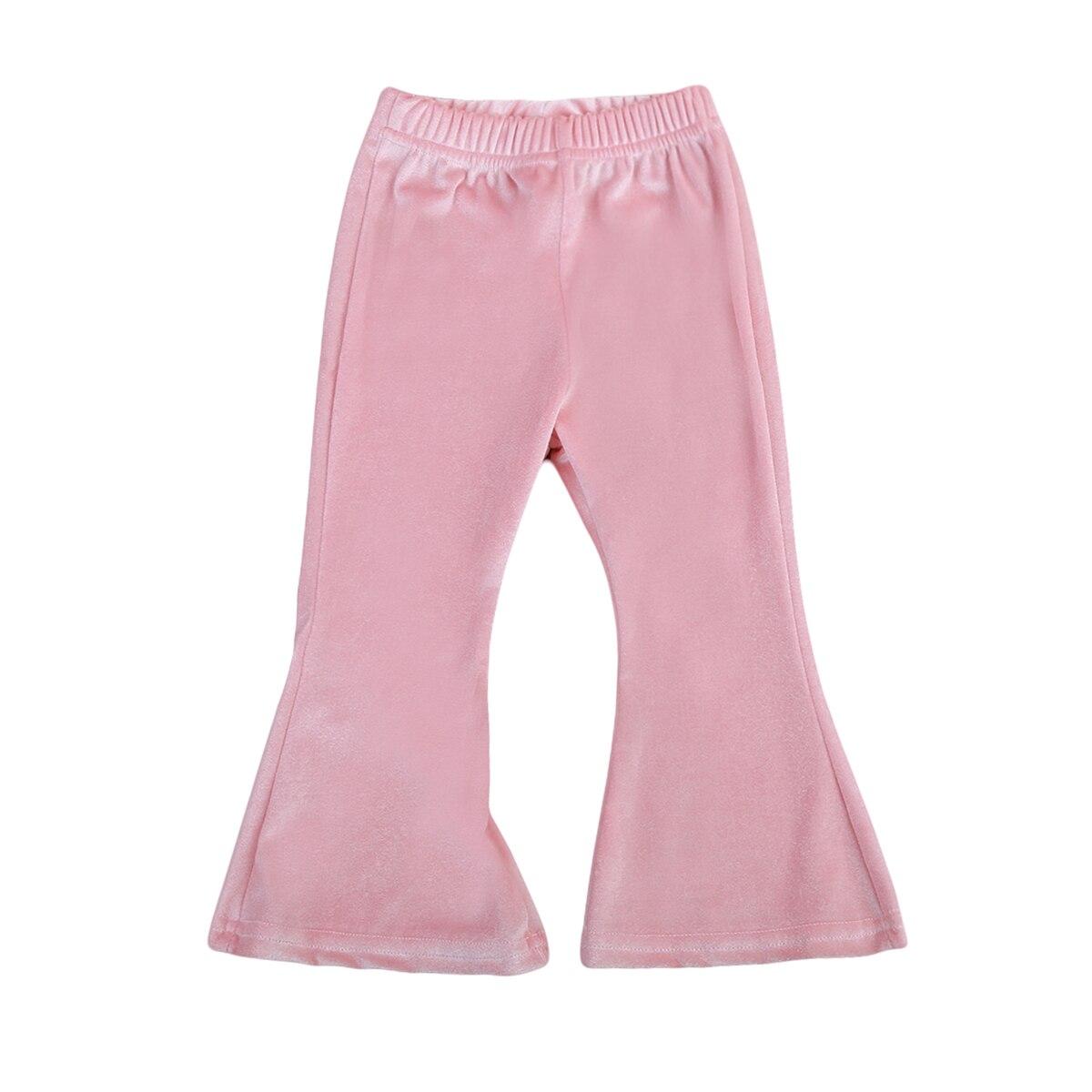 ¡En Stock! 1-5Y para niña pequeña pantalones terciopelo ropa para niños sólido Campana-bottomed Pantalones Casual chico s Flare Pantalones