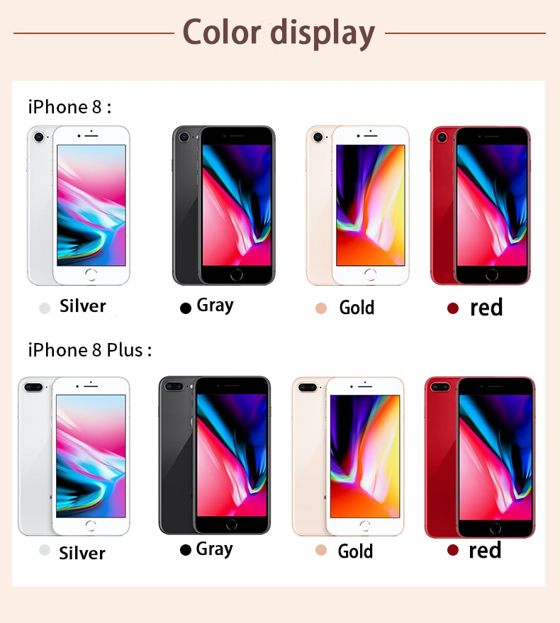 Used Original Apple iPhone 8/8 Plus Unlocked Smartphones Hexa Core iOS 64/256GB Cell Phones NFC 5.5'' 12MP 4G LTE Mobile Phones enlarge