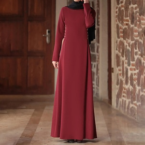 Maxi Dresses for Women Plus Size Muslim Fashion Abaya Office Lady A-Line Solid Full Round Neck Dresses Lugentolo