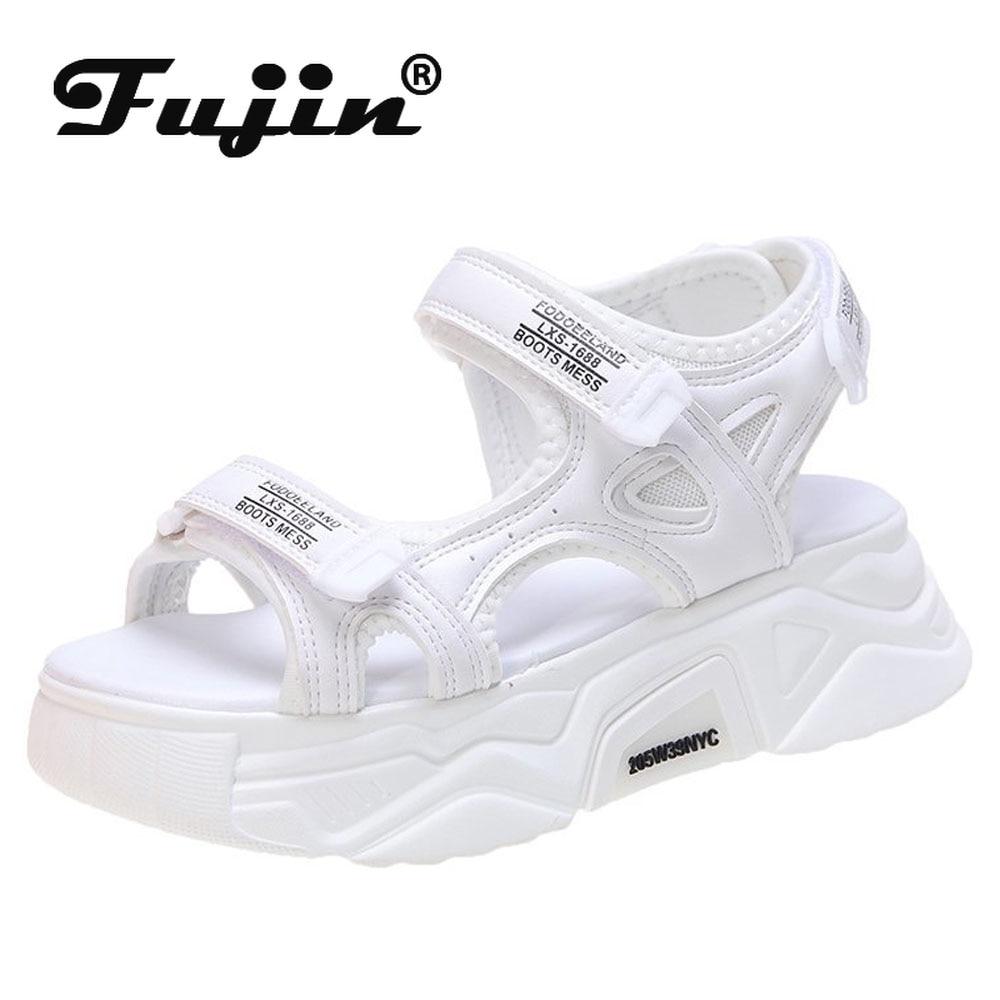Fujin 6 سنتيمتر النساء الصنادل لطيف أحذية مريحة السيدات 2021 الشرائح أحذية أنيقة المرأة الصيف المفتوحة تو صنادل أرضية