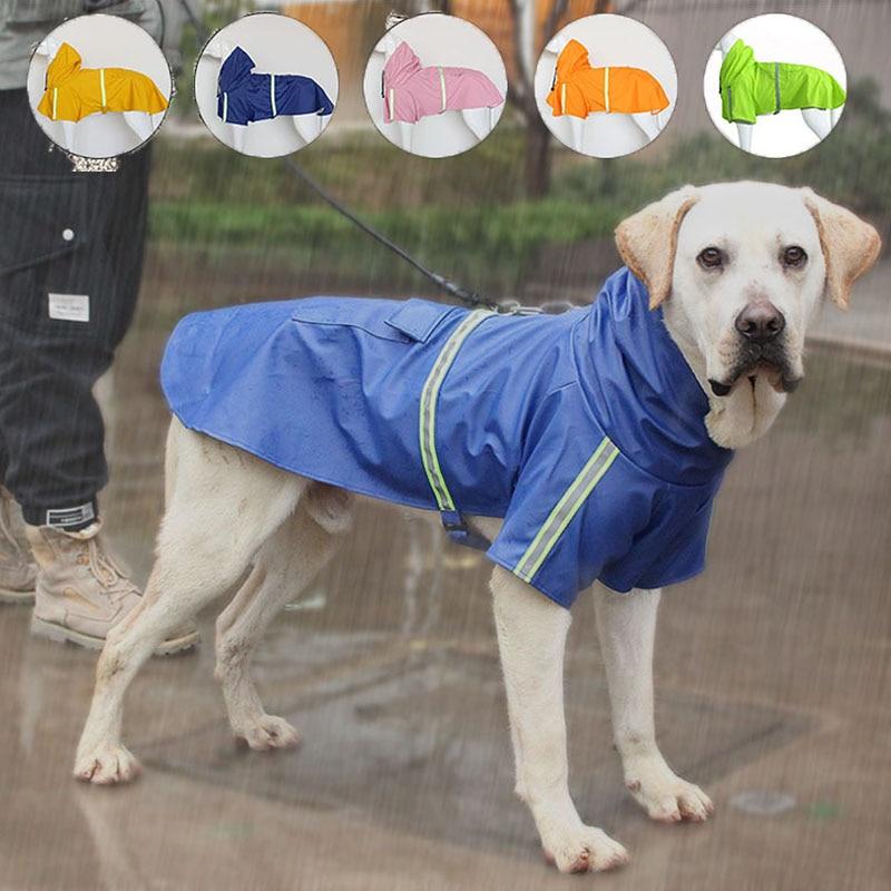 Perro chubasqueros con capucha reflectante perros grandes abrigo de lluvia impermeable mono...