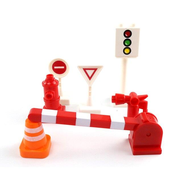 Duploed transporte ferroviario montar edificio grande bloques pista Compatible Duploe tren de bloques de juguete juguetes para niños de regalo