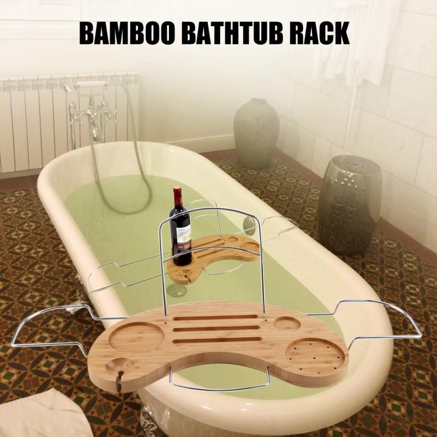 Bamboo Bathtub Rack Tray Home Bathroom Bath Tub Wine Book Towel Holder Storage Shelf
