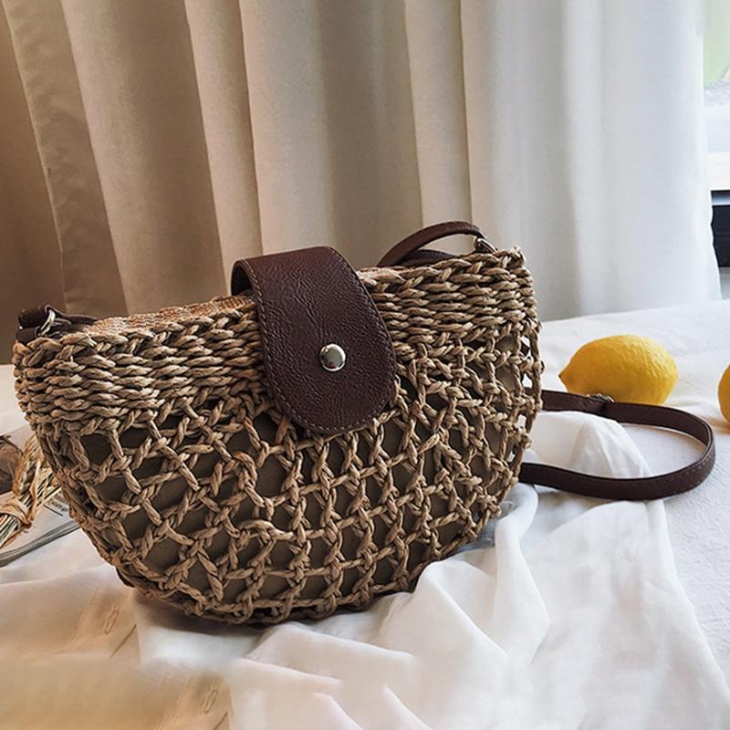 Bolso de paja, asiento semicircular, bolsos cruzados para mujer, bolsos de verano 2020, bolsos de moda de diseñador, bandolera tejido de mimbre, bolsos, bolsos