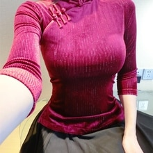 Wine red Imported velvet exquisite Tang suit Chinese style elegant sleeve top Improved style super b