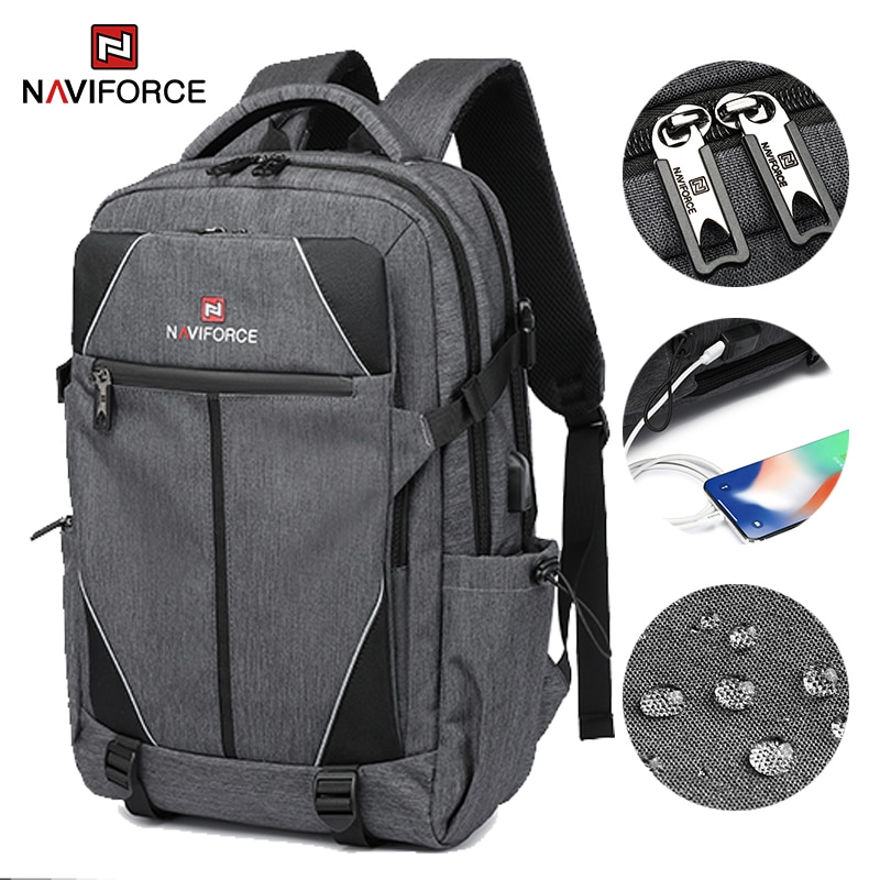 NAVIFORCE Fashion Casual Men's Backpacks Large Capacity Business Travel USB Charging Bag Laptop Note