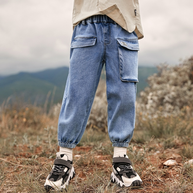 Boys jeans spring and autumn big pocket tooling wind beam pants casual pants autumn clothes  denim pants legs baby boy clothes