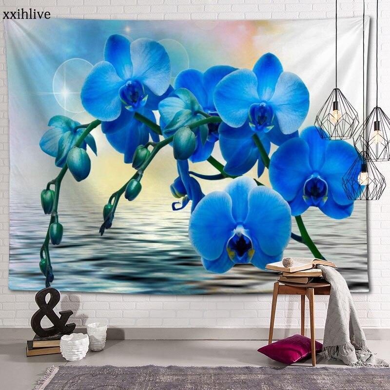 На заказ ГОБЕЛЕН с цветочным принтом орхидеи большие гобелены хиппи настенный богемный художественный Декор для комнаты