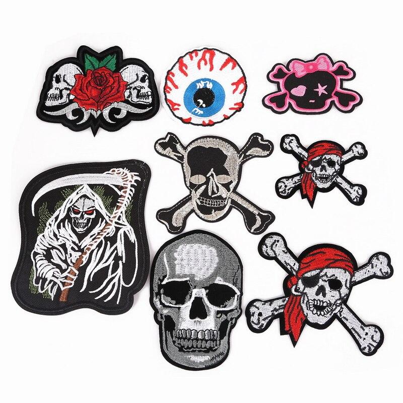 Parche bordado de Azrael con diseño de ojo de bandera pirata, parches de hierro sobre Punk Hippie para ropa, accesorio DIY, insignias de tela para mochila