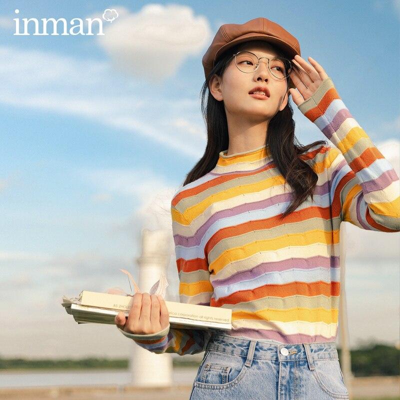 INMAN 2020 Otoño Invierno nueva llegada moda juvenil rayas multicolor recta desgastada contraste Color Base camisa Pullover mujer Sw