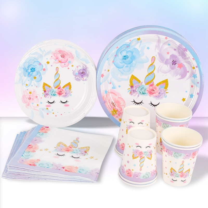 Unicorn Birthday Party Decoration Unicorn Tableware Paper Plates Cups Napkins Toys for Kids Birthday Party Baby Shower Girl 40pcs unicorn paper plates large 23cm plates baby shower bbq summer party decor birthday party paper plates wedding decoration
