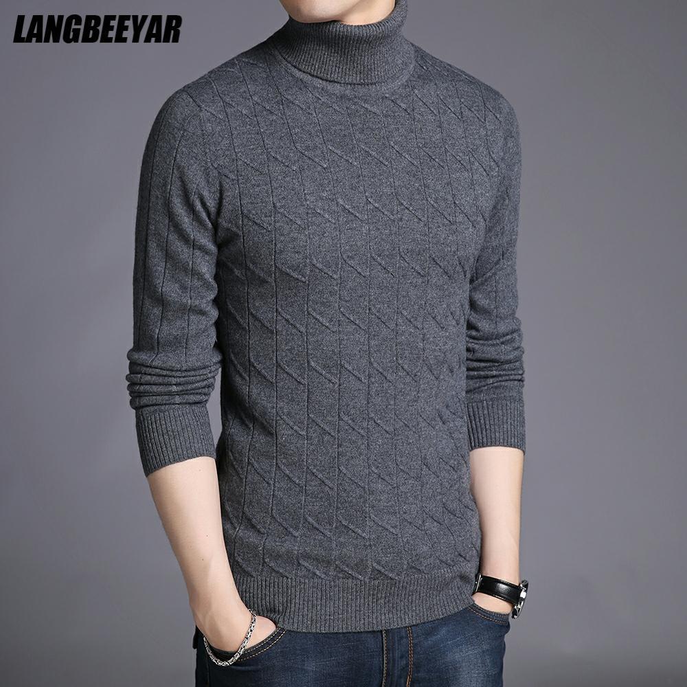100% шерсть высшего качества, модный бренд, вязаный мужской свитер с высоким горлом, пуловер, теплый зимний однотонный Повседневный джемпер, м...