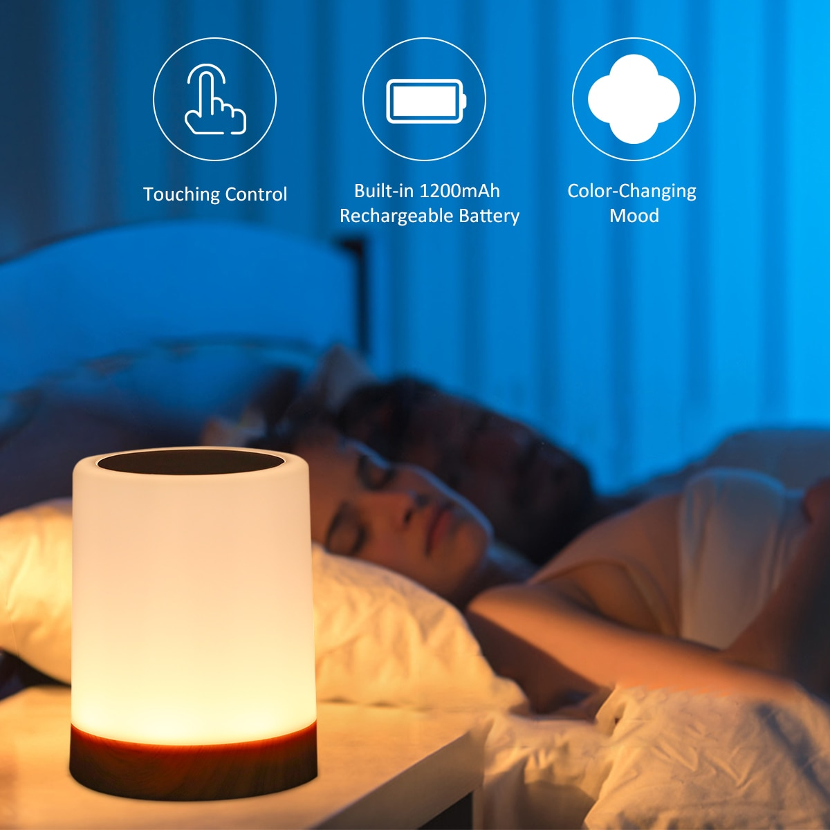 USB Rechargeable Touching Control Bedside Light Dimmable Table Lamp Warm White & RGB Night Light for Living Room Bedrooms Office