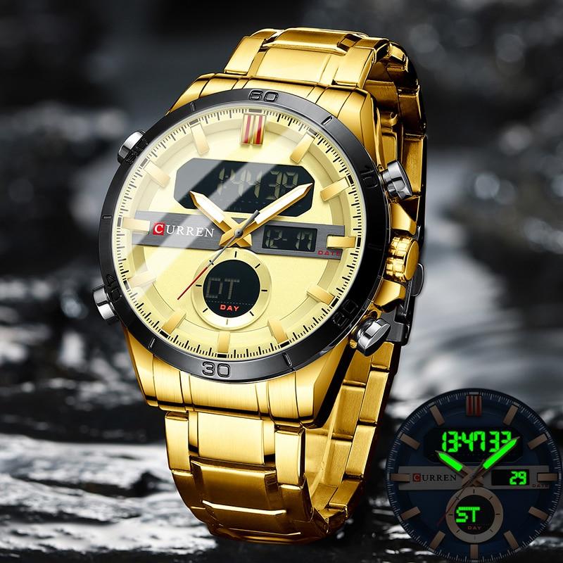 CURREN موضة الرياضة الذهب الرجال الساعات الرقمية مع كرونوغراف من الفولاذ المقاوم للصدأ لومينو ساعة اليد LED ساعة معصم الذكور للرجال