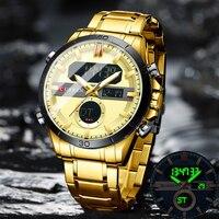 CURREN Модные Спортивные золотые мужские цифровые часы с хронографом из нержавеющей стали, наручные часы с подсветкой, мужские наручные часы д...